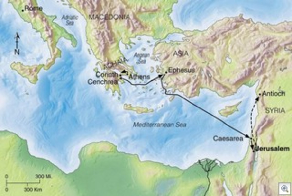 Map of Paul's journey from Corinth to Antioch, showing also the three cities where Priscilla and Aquila lived.
