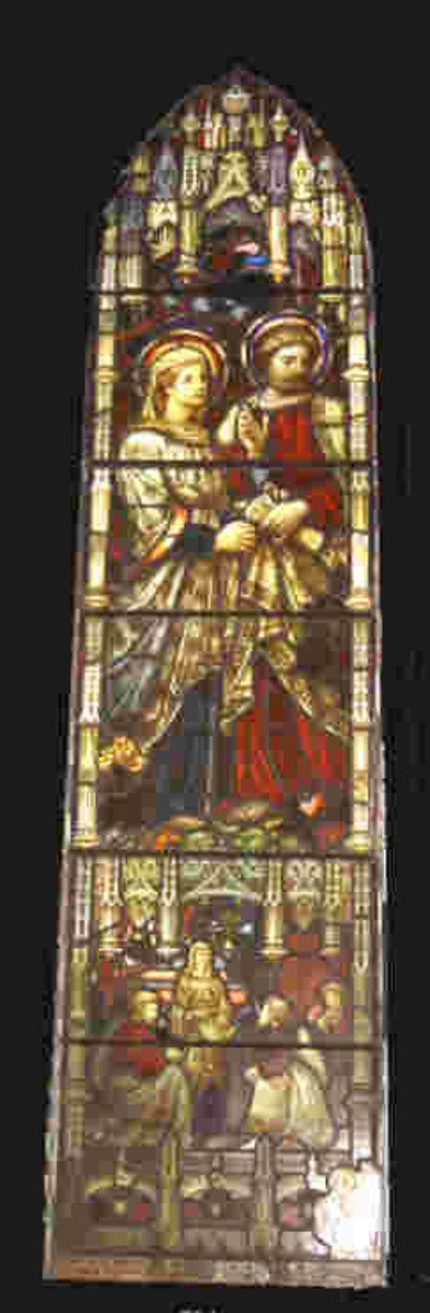 Stained glass window depicting Priscilla and Aquila in St. John's Anglican Church in Heidelberg, Victoria, Australia
