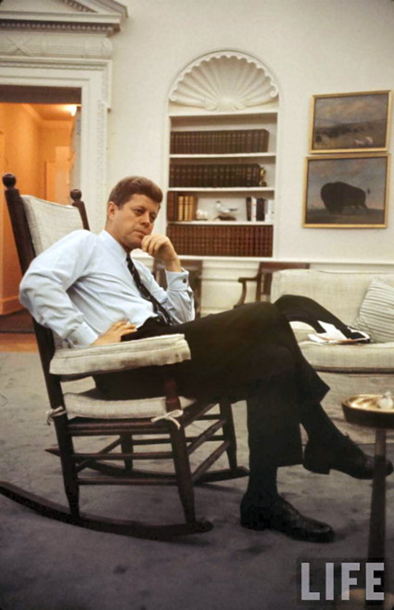JFK in his famous rocking chair double cuff links shown