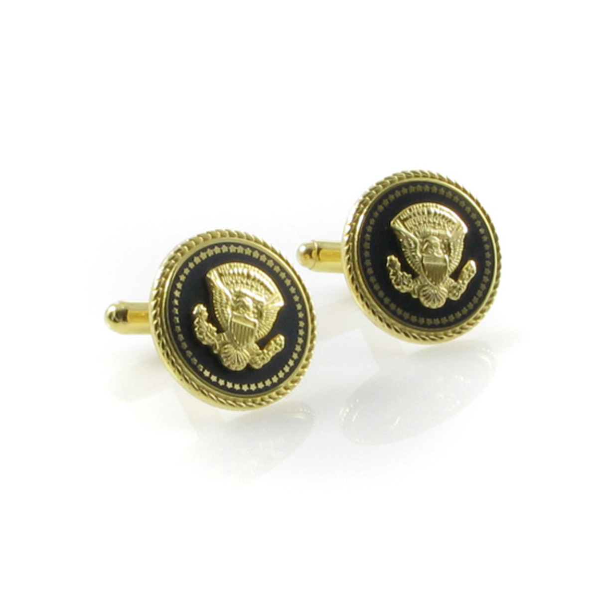 Navy blue and gold tone - John F. Kennedy Replica Cuff Links by Camrose and Kross