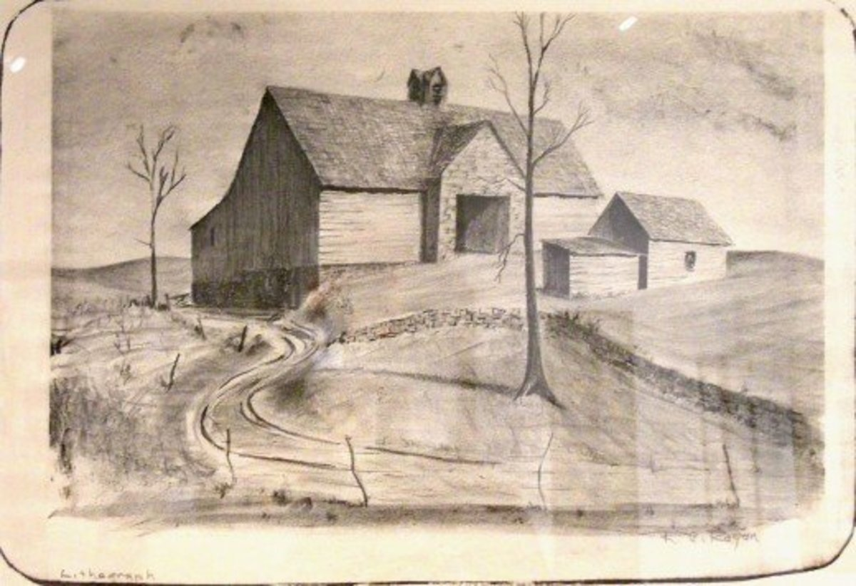 One might well imagine a Kansas farmscape in the fall of the year in this R. C. Rogan lithograph.