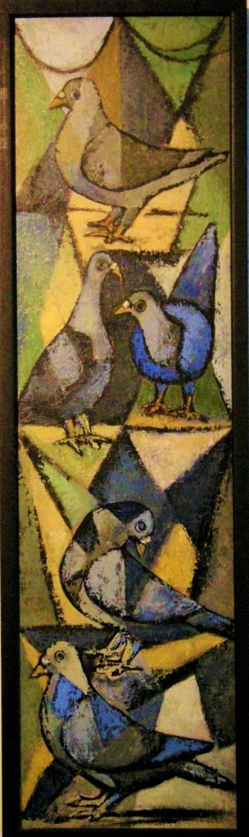 The painting of doves was my mother-in-law's favorite painting of Bob's, which used to hang in the Rogan's living room.