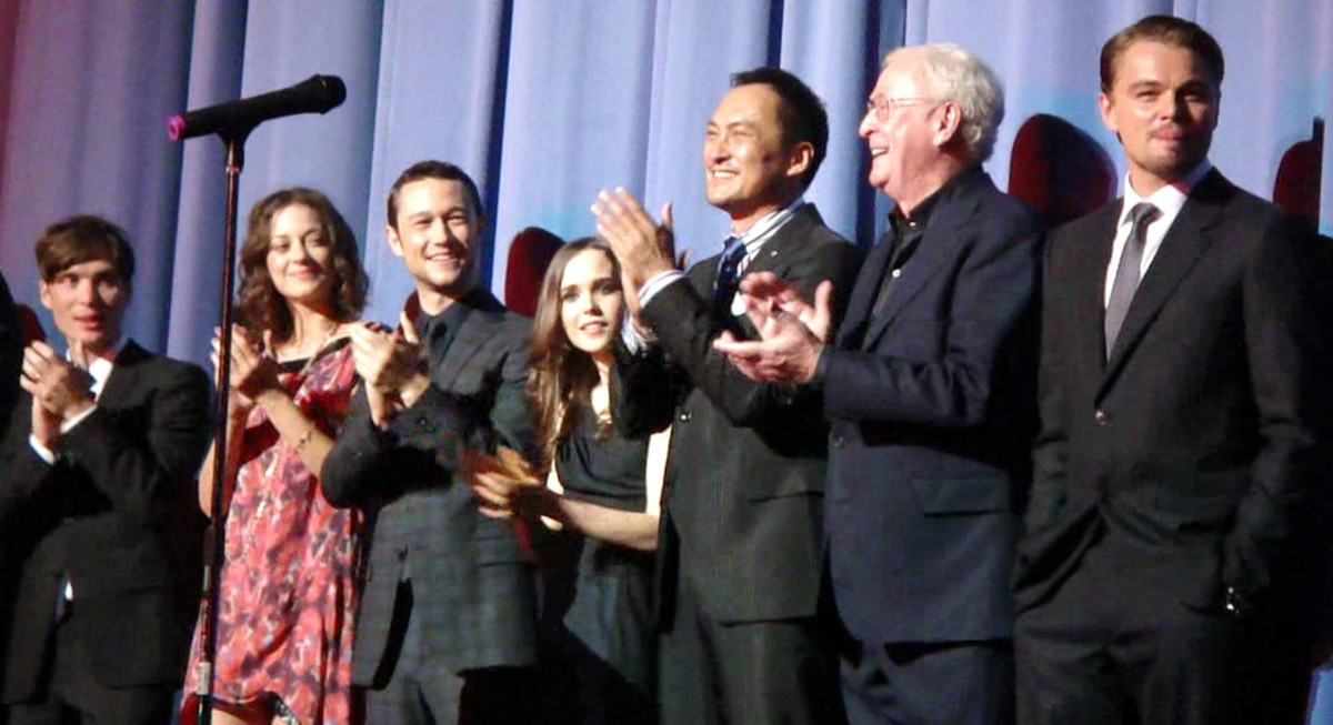 The cast of Inception at a premiere in July 2010. From left to right is Cillian Murphy, Marion Cotillard, Joseph Gordon-Levitt, Ellen Page, Ken Watanabe, Michael Caine, and Leonardo DiCaprio.  Posted by Craig Grobler at http://www.theestablishingshot