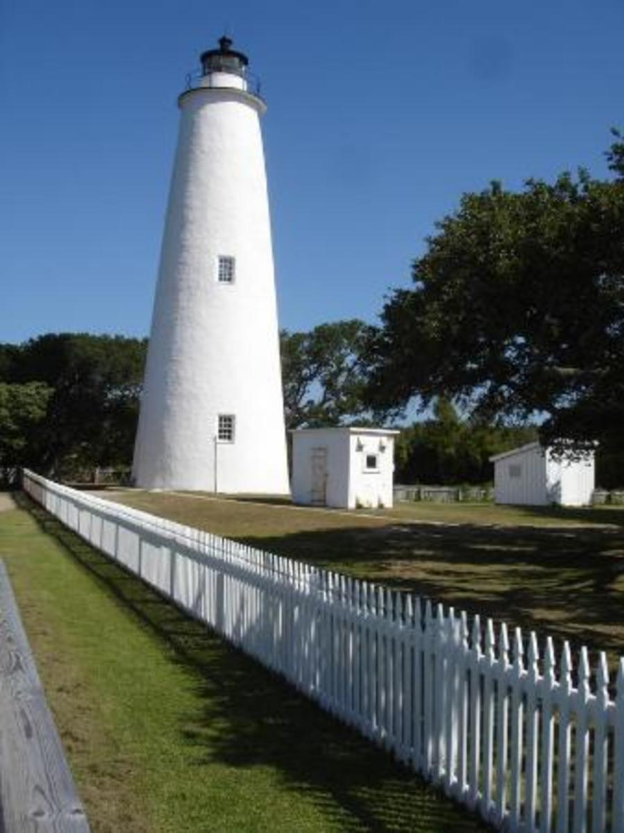 Ocracoke Lighthouse on Ocracoke Island in the North Carolina Outer Banks.