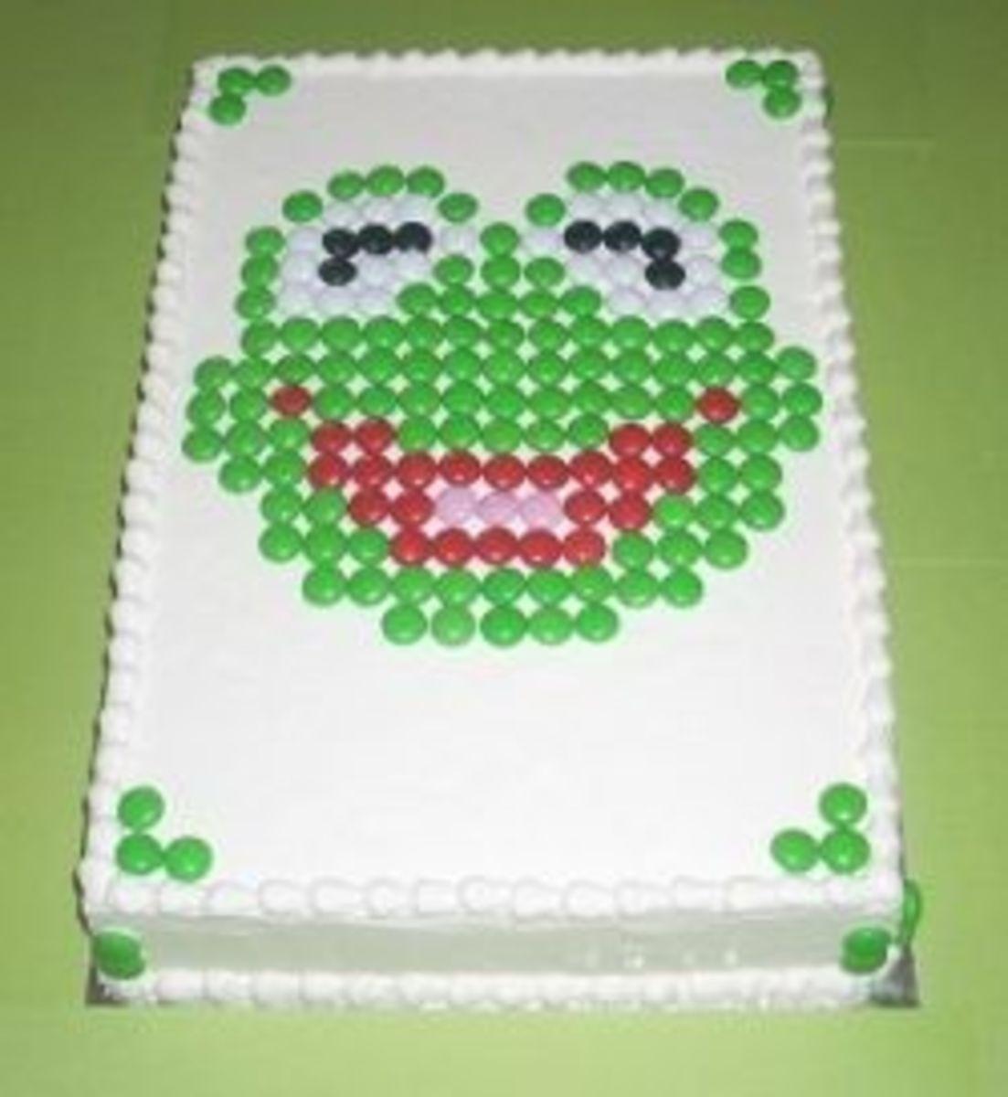 M&M Kermit Muppet Cake