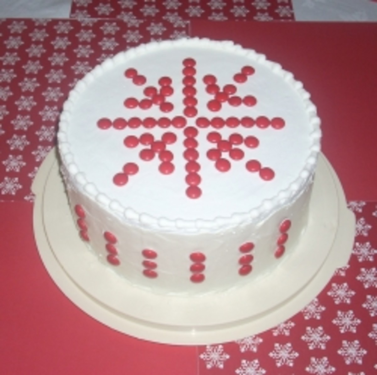 Snowflake Cake made with Red M&M candies M&M's
