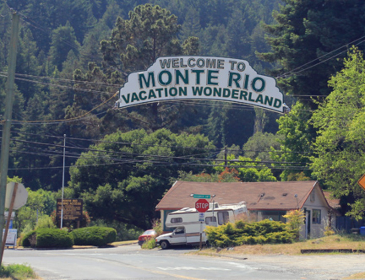 The Monte Rio welcome sign ... which isn't too terribly welcoming.