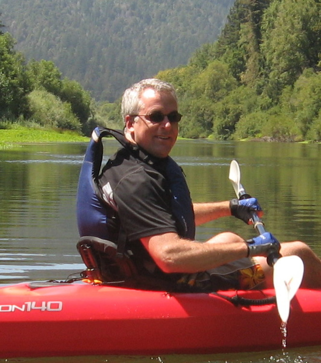 Kayaking on the glassy Russian River