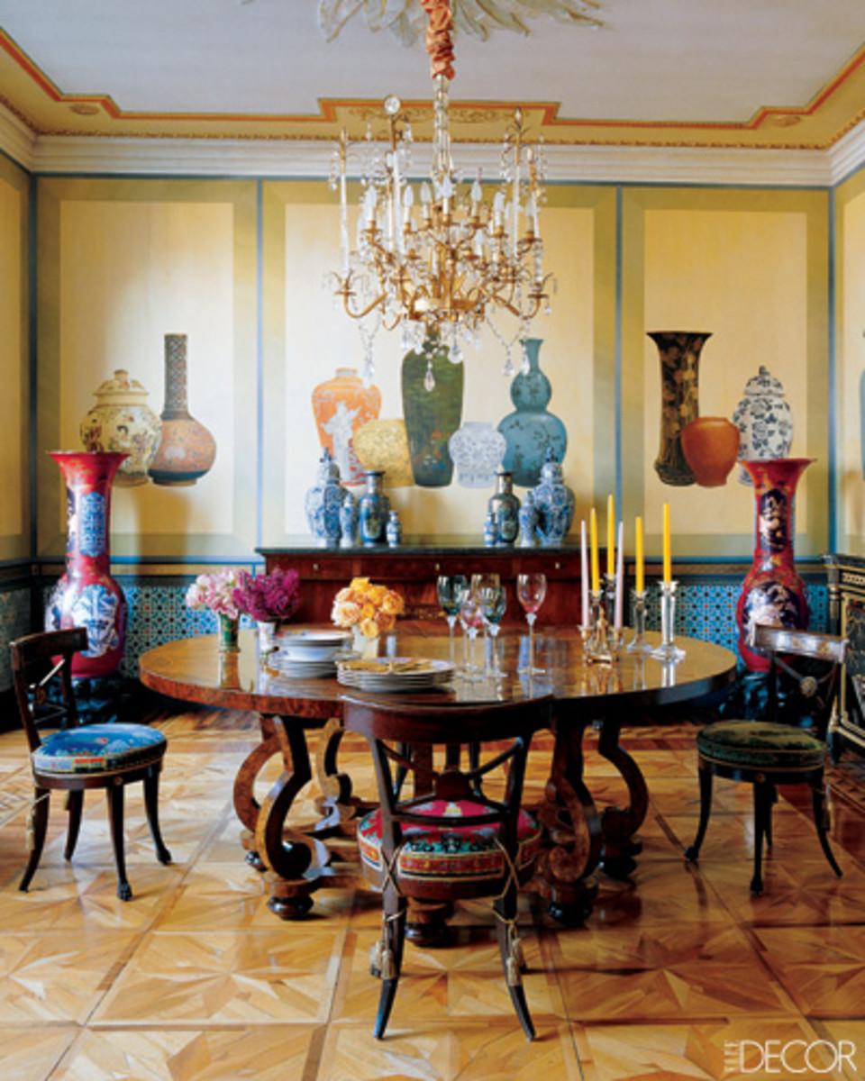 Milan dining room of Donatella Versace.