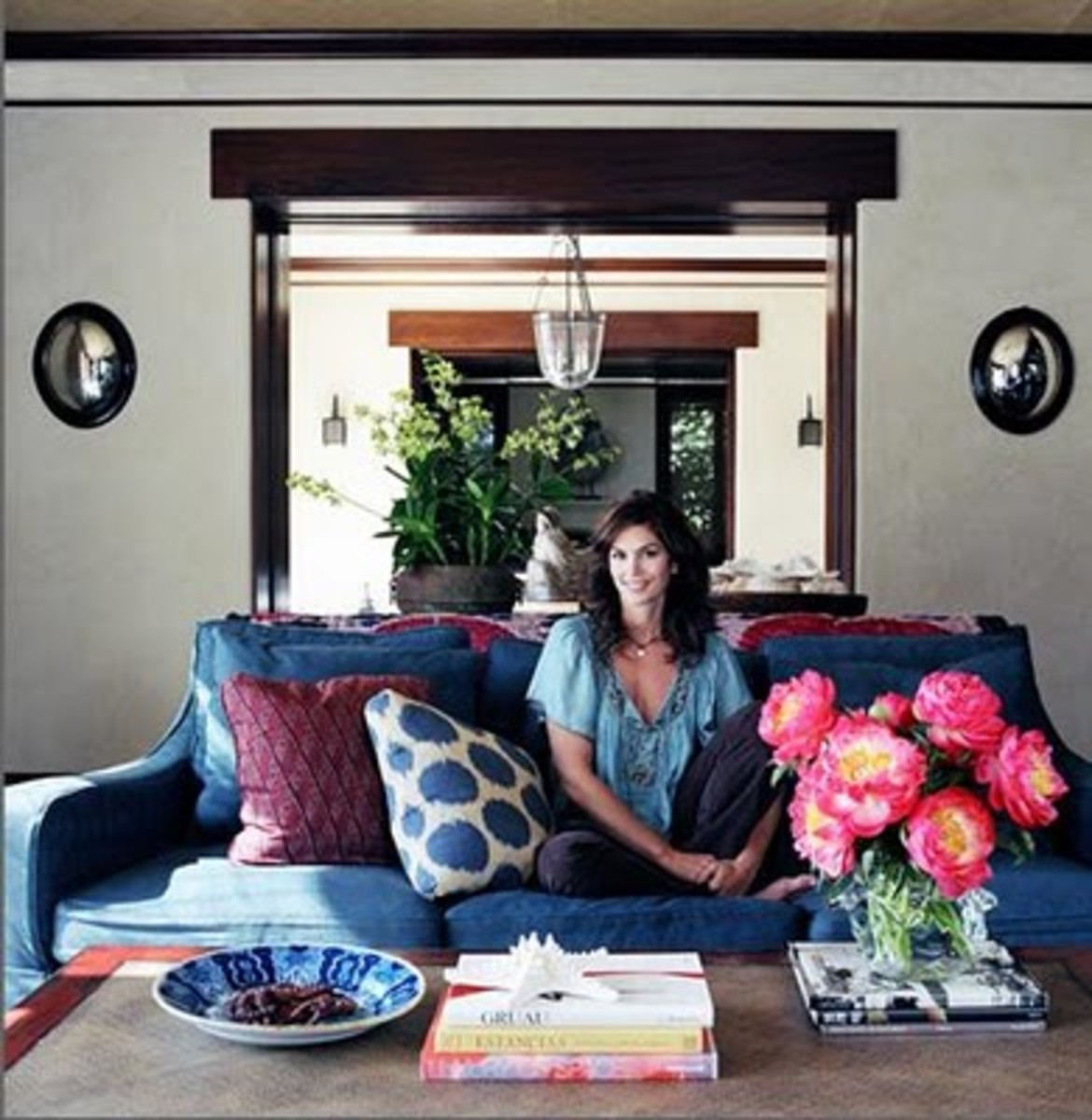 Cindy Crawford in her Malibu living room.