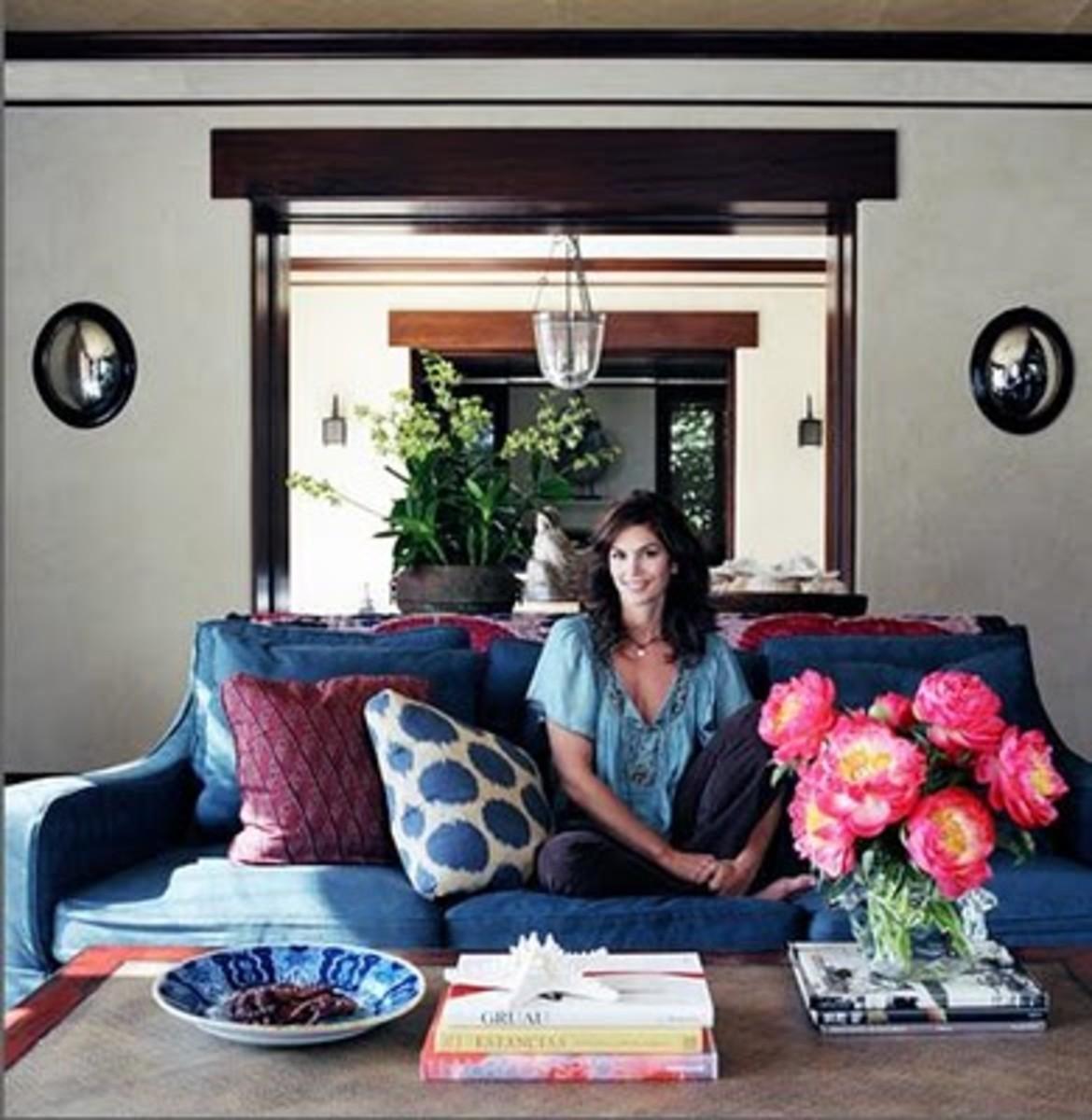 Cindy Crawford in her Malibu living room.