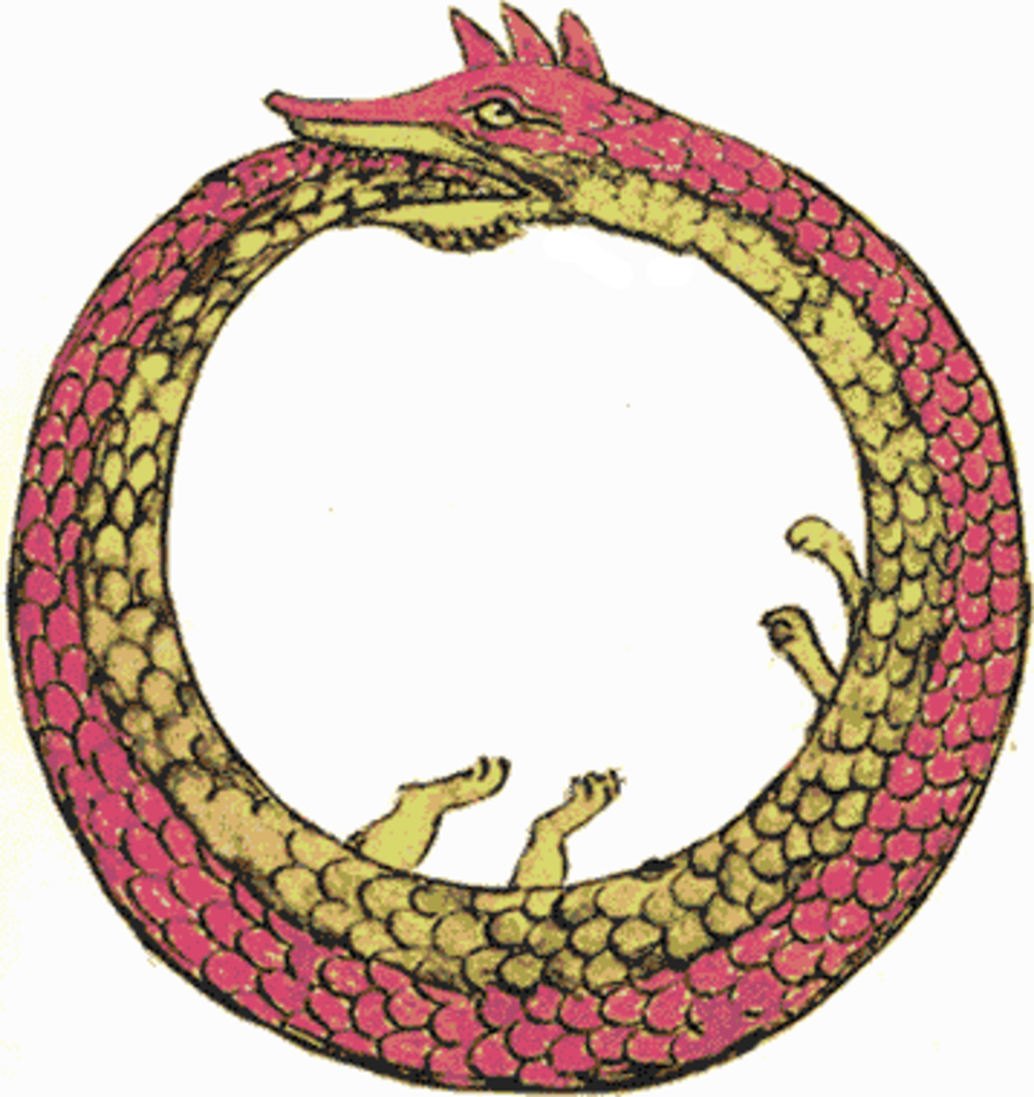 The serpent Ouroboros swallowing its tail.