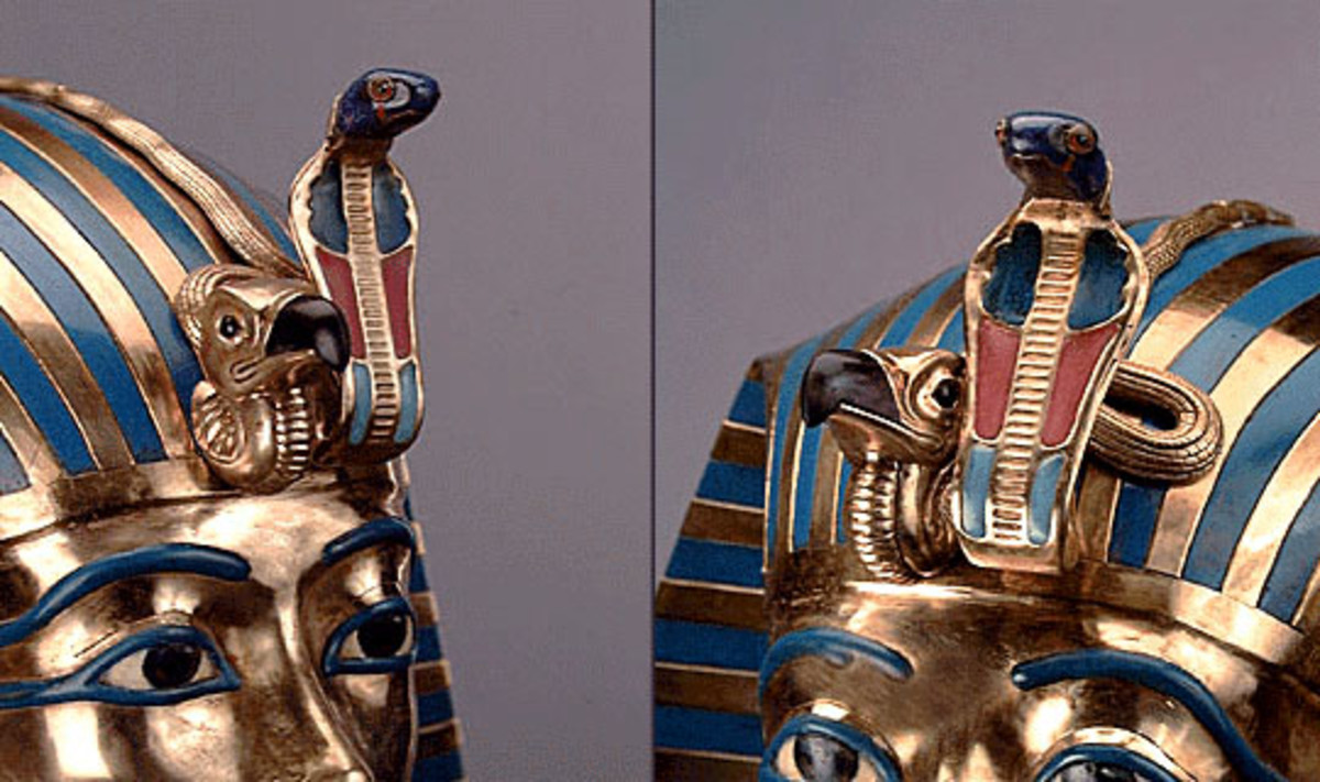 Uraeus on the pharaoh's crown.