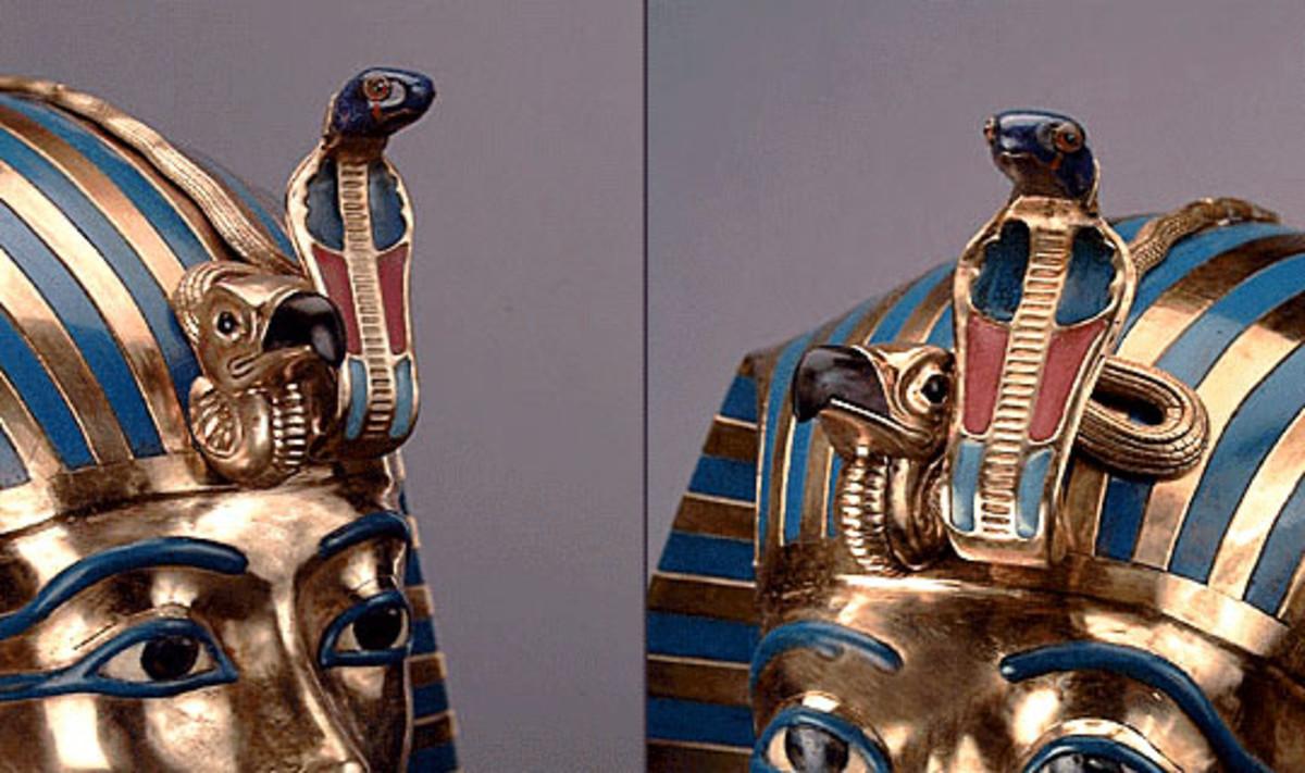 Uraeus on the pharaoh's crown.