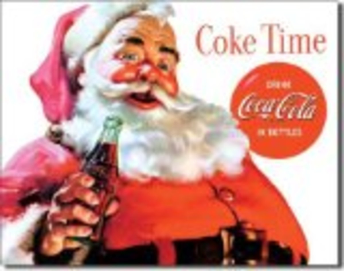 Vintage Coke Santa Decorations