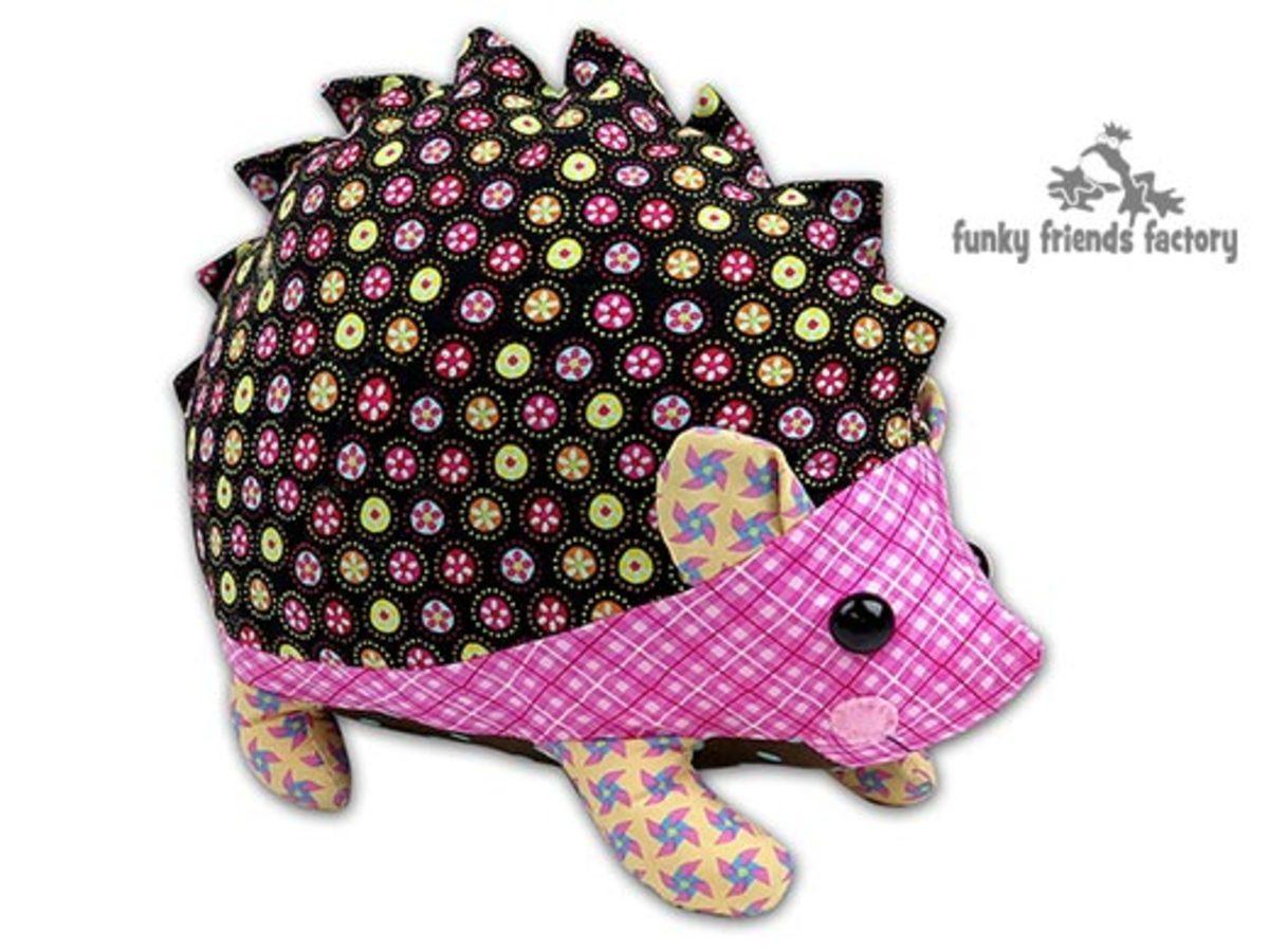 Cute hedgehog sewing pattern from funky friends factory.