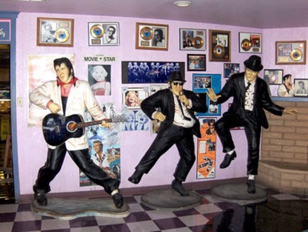 Life size replicas of the Blues  Brothers and Elvis are just some of the Hollywood memorabilia that can be seen at Peggy Sue's.
