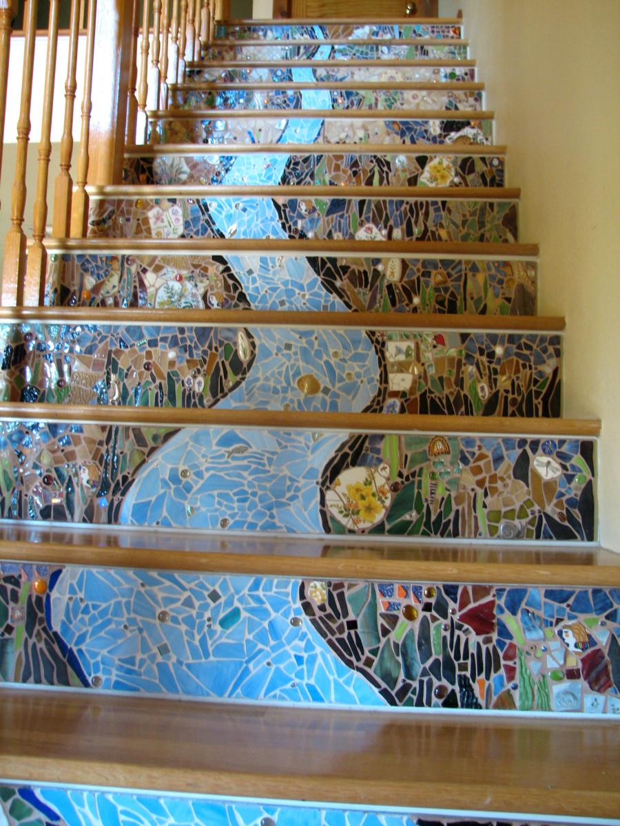 How to mosaic stair risers using plexiglass