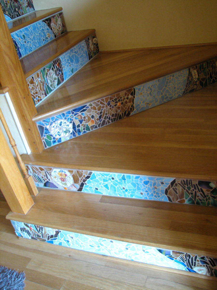 the bottom four mosaic stair risers