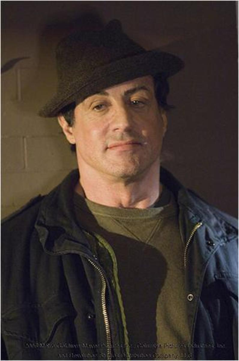 Sylvester Stallone in Rocky's street clothes