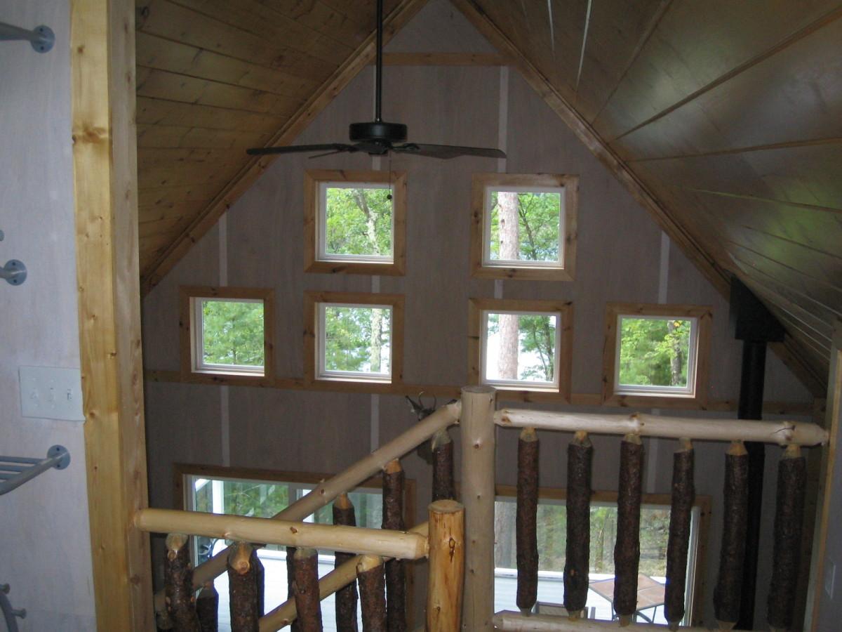 Whitewashed plywood walls