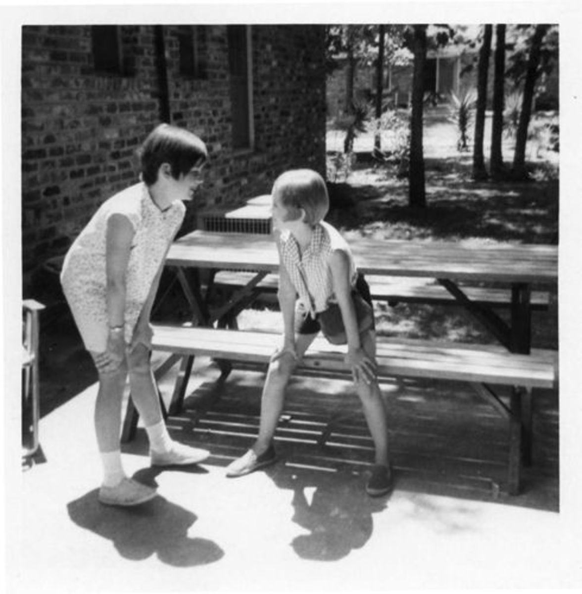Me with friend and neighbor Helen, who got a Twiggy cut, too!