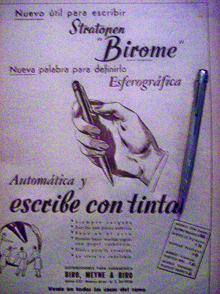 Advertisment for the Biro Pen Courtesy of Wikipedia