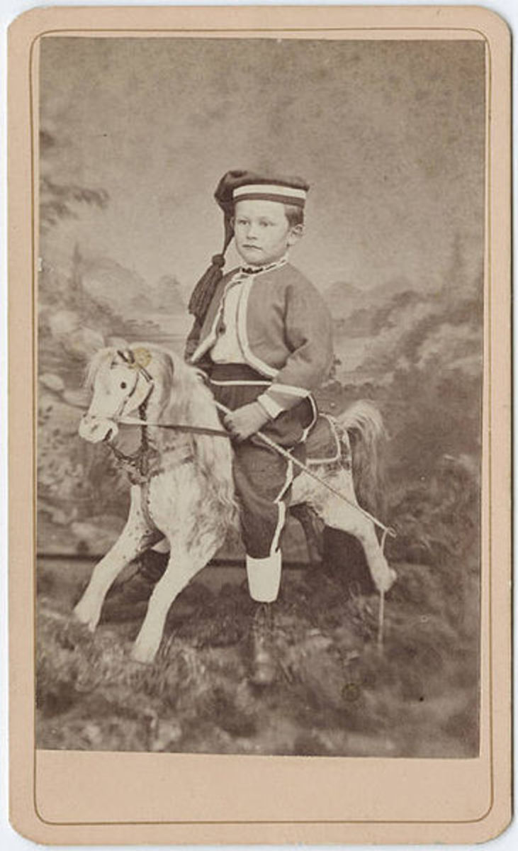 Photograph of Child on Rocking Horse