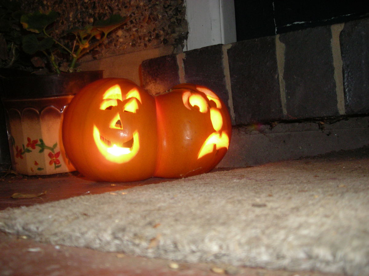 Two lovely big, fat, round pumpkins