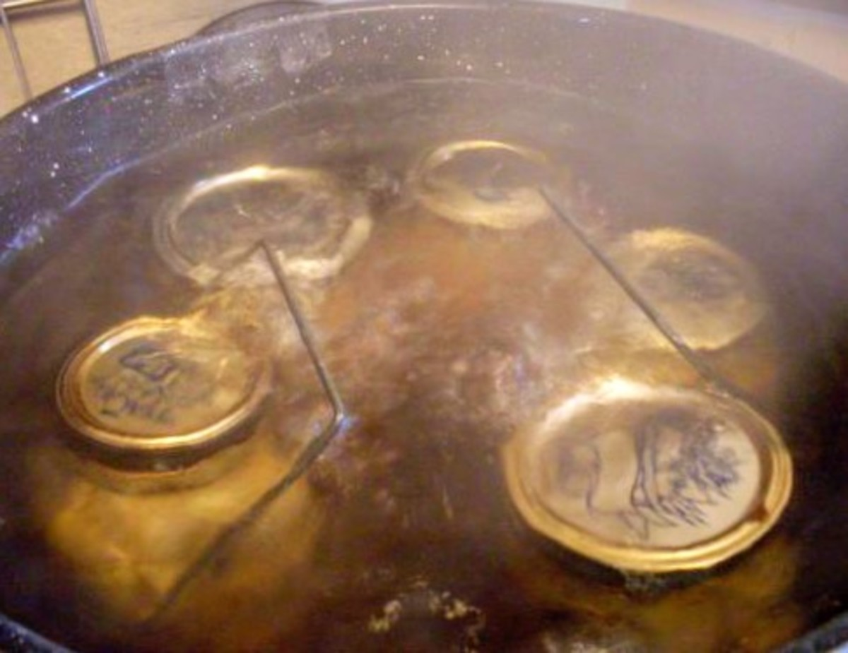 "Place jars in boiling waterbath canner, with 1"" of water to cover. Bring to a rolling boil, and process pints and quarts both for 20 minutes, so they get hot to their centers."