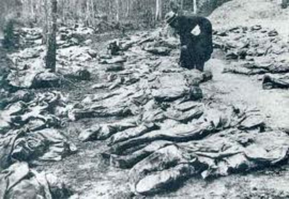 Murdered polish officers at Katyn. Their death was ordered by Joseph Stalin.