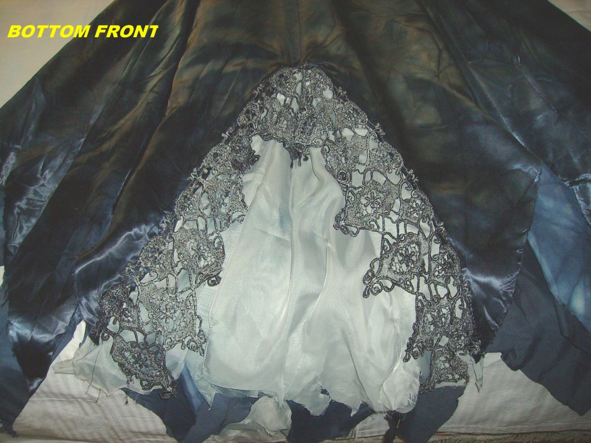 This is the front hem, after adding the vintage lace and sheer fabric.