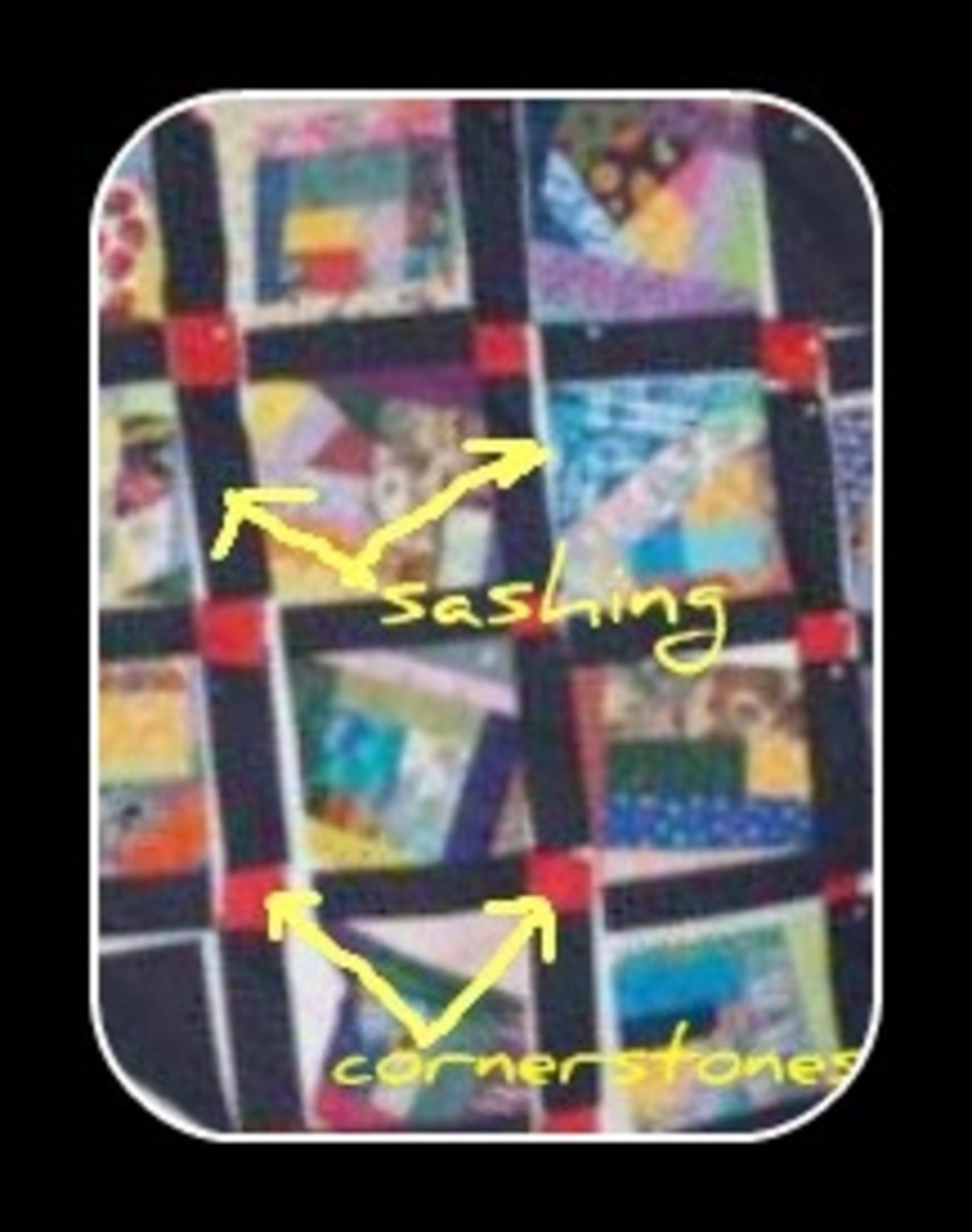 crazy quilt lay out with sashing and cornerstones (not made of baby clothes)
