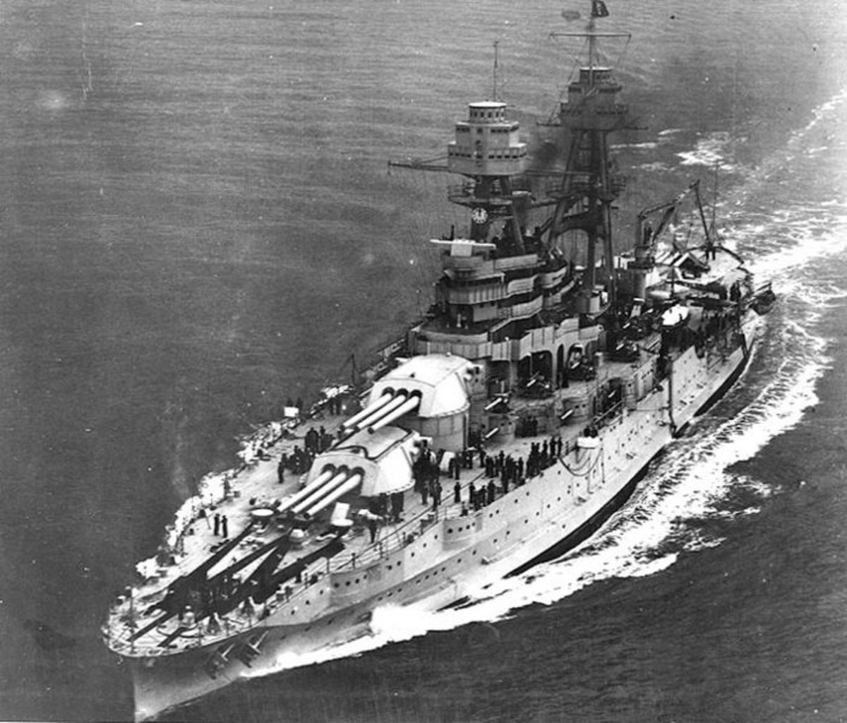 The U.S.S. Arizona Battleship under way with President Herbert Hoover aboard.