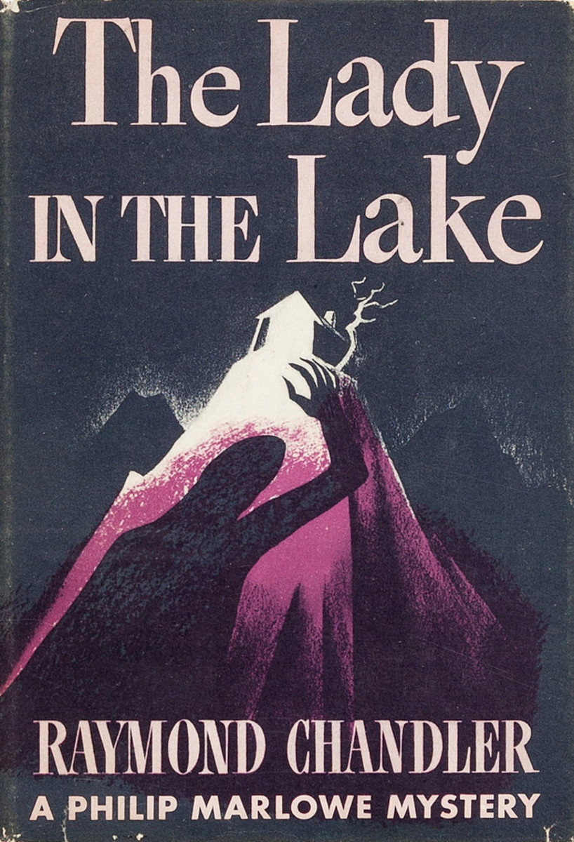 Cover of the dust jacket of Raymond Chandler's The Lady in the Lake (1943), published by Alfred A. Knopf, Jacket drawn by Norman Reeves.