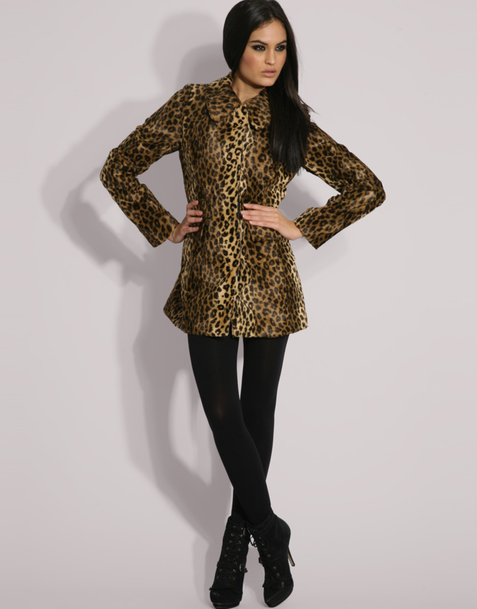 Oasis Leopard Faux Fur Coat