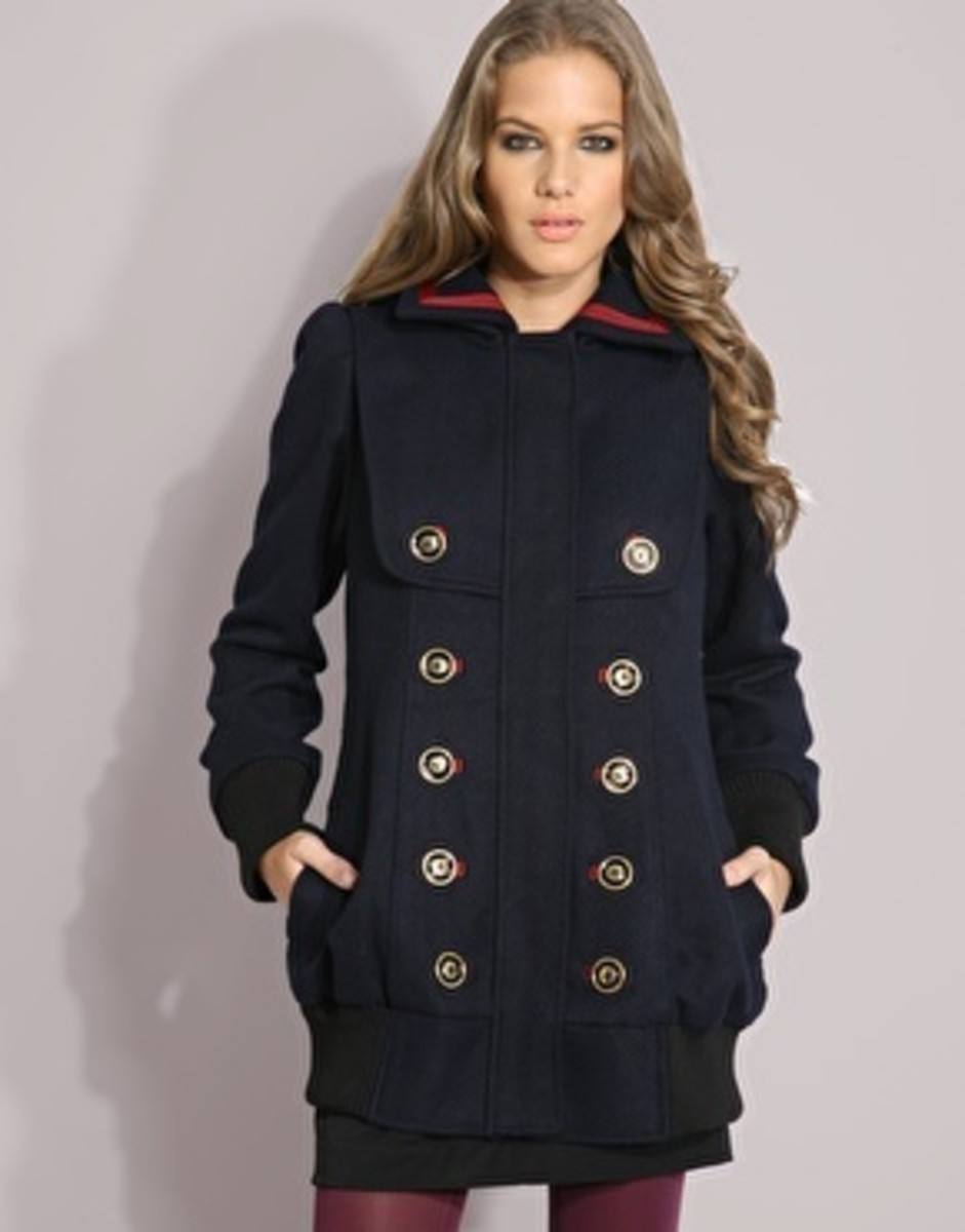 Double Brested Military Coat with Bold Buttons