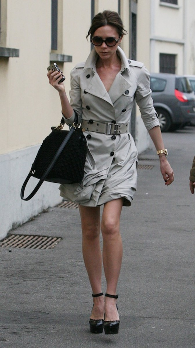 Victoria Beckham in Short Trench with Shortened Sleeves