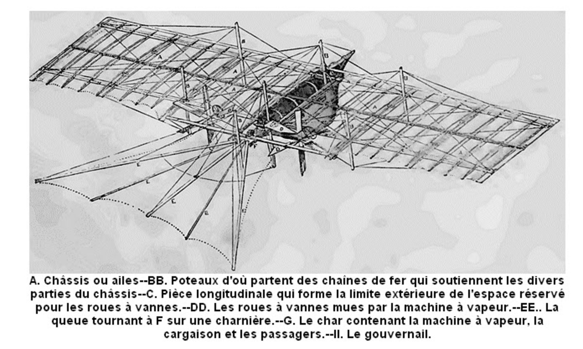 A schematic drawing of the 1843 Steampunk Airplane.