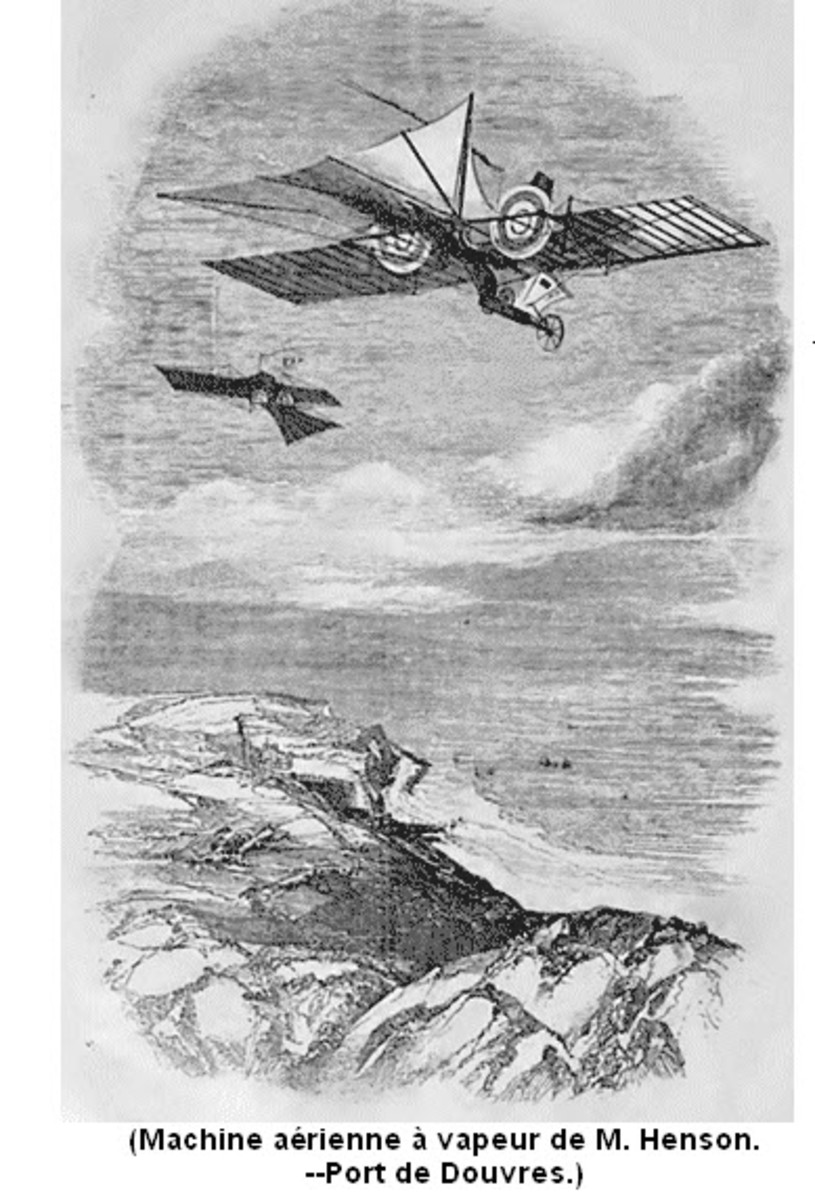 The inventor accurately predicted that airplanes would one day cross the English channel bringing people and goods from England to France. Here the steam powered airplane is pictured in flight over Calais, on the English Channel.