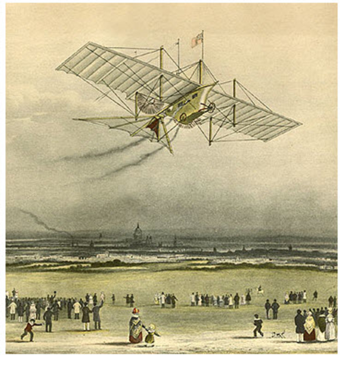 "An Artist's Conception of the Steam Powered Airplane, the ""Arial"" in Flight. This drawing was published in newspapers of the time to solicit investors in the scheme."