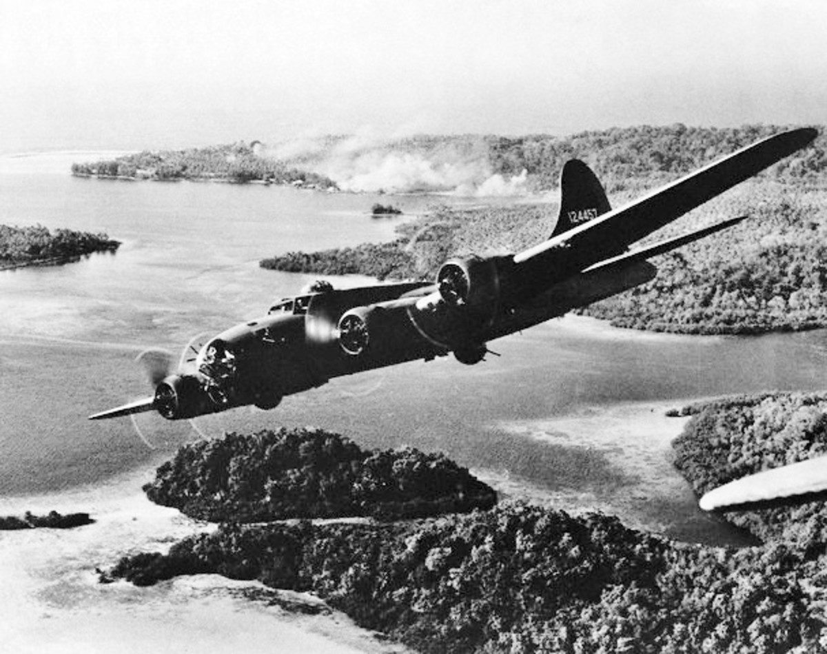 B-17 flying over islands.