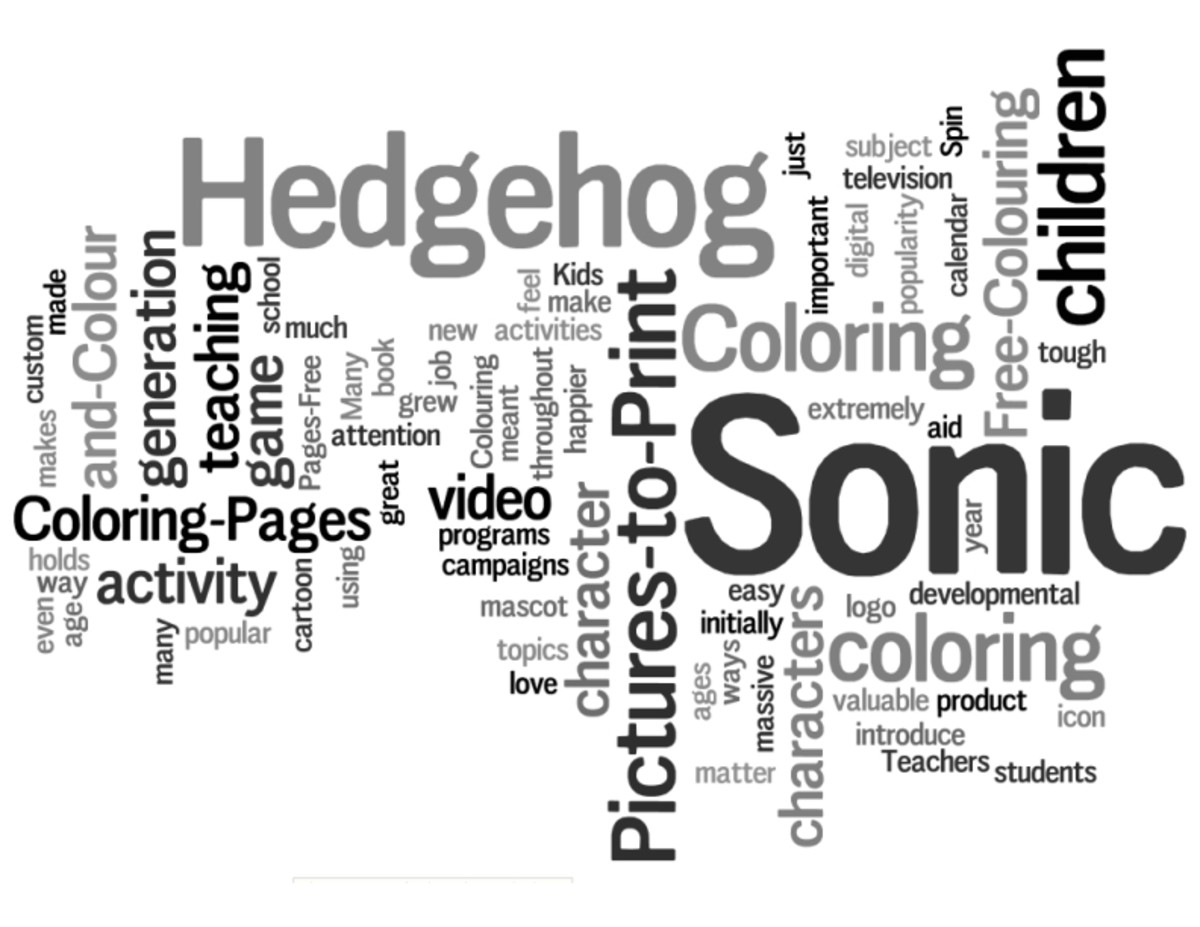 Sonic the Hedgehog Coloring Pages Word Cloud