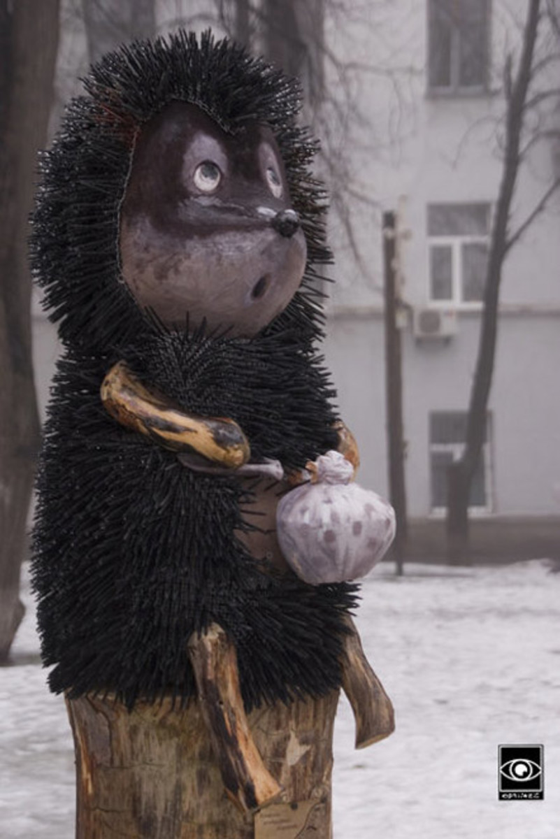 A monument to little Hedgehog appeared in Kiev, Ukraine.