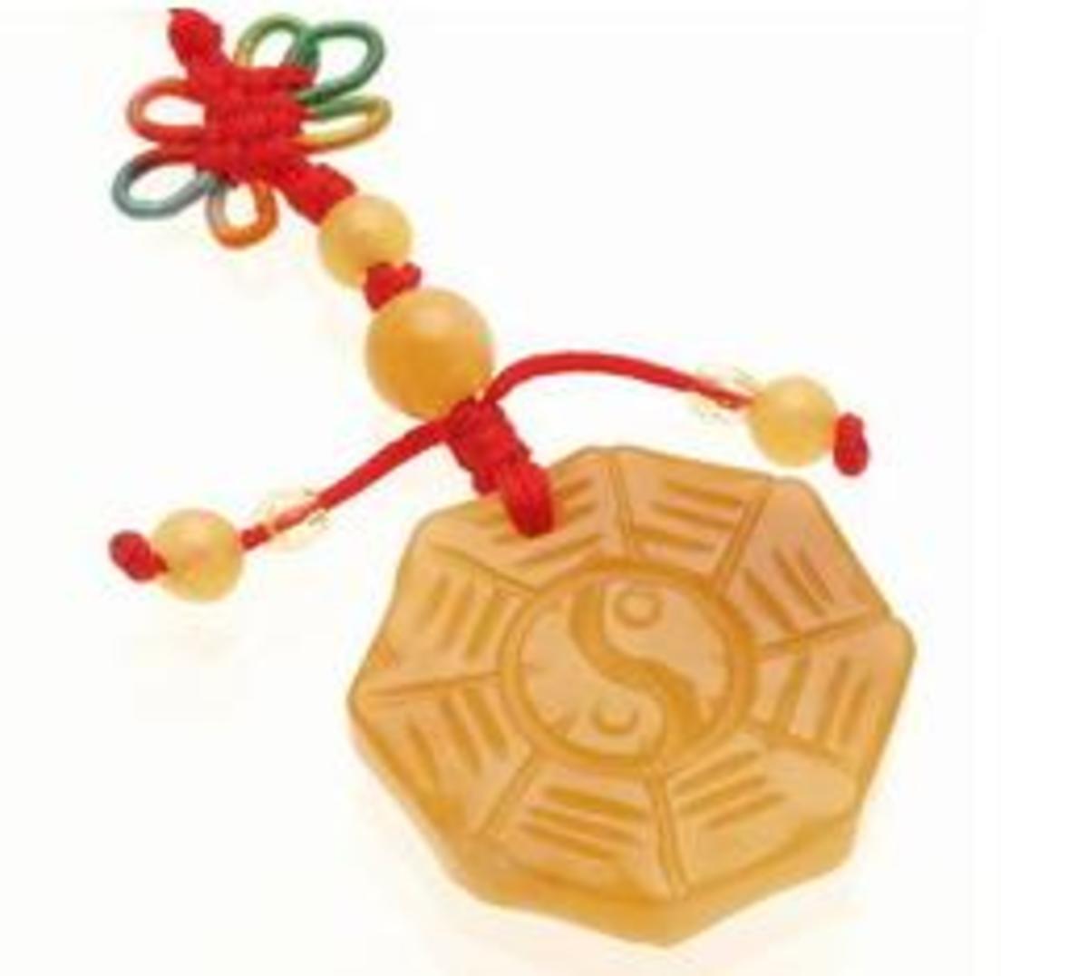 Yellow Jade Bagua (Pa Kua) Tassel Amulet For Protection