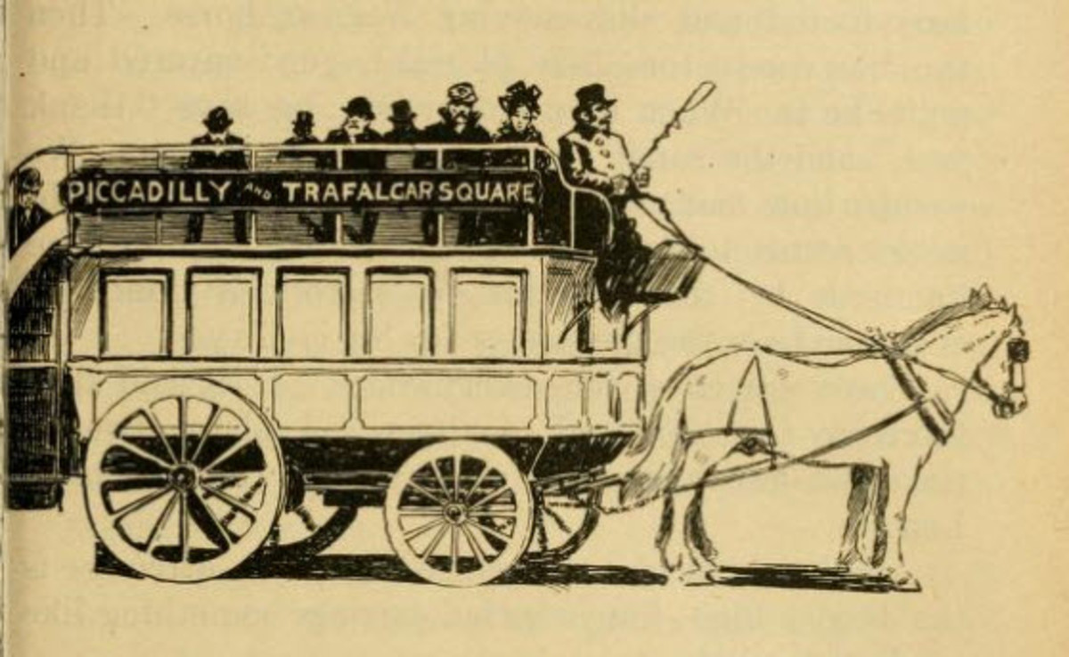 Horse Drawn Buses - A tourist getting Around London in 1901 might have gotten on one of these horse drawn buses which offered a better view than the subway system. Motorized transport was not yet common.