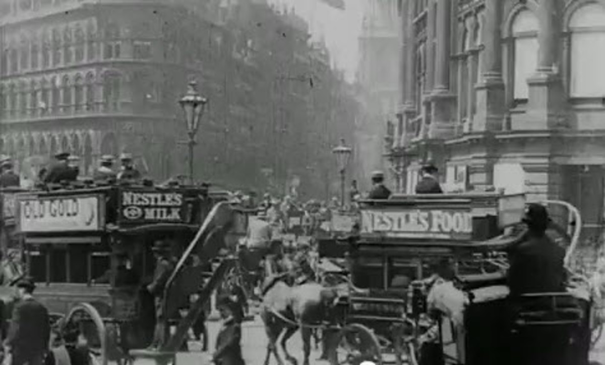 Edwardian London - Note the Advertising on the Side of the Horse Drawn Buses