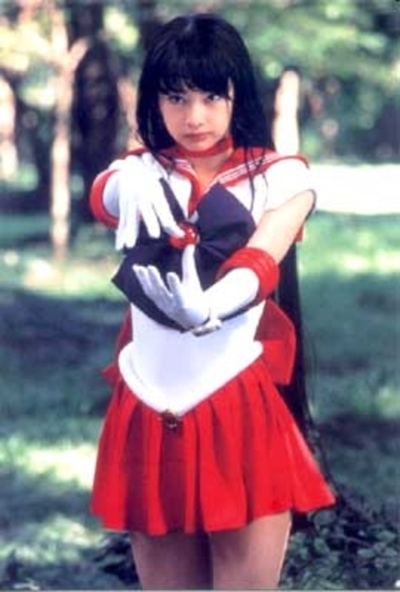 "A young Keiko Kitagawa as ""Sailor Mars"" in the Pretty Guardian Sailor Moon TV series (2003-2004)"