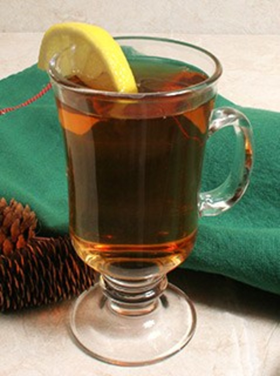Hot toddy with a cinnamon stick and a slice of lemon.
