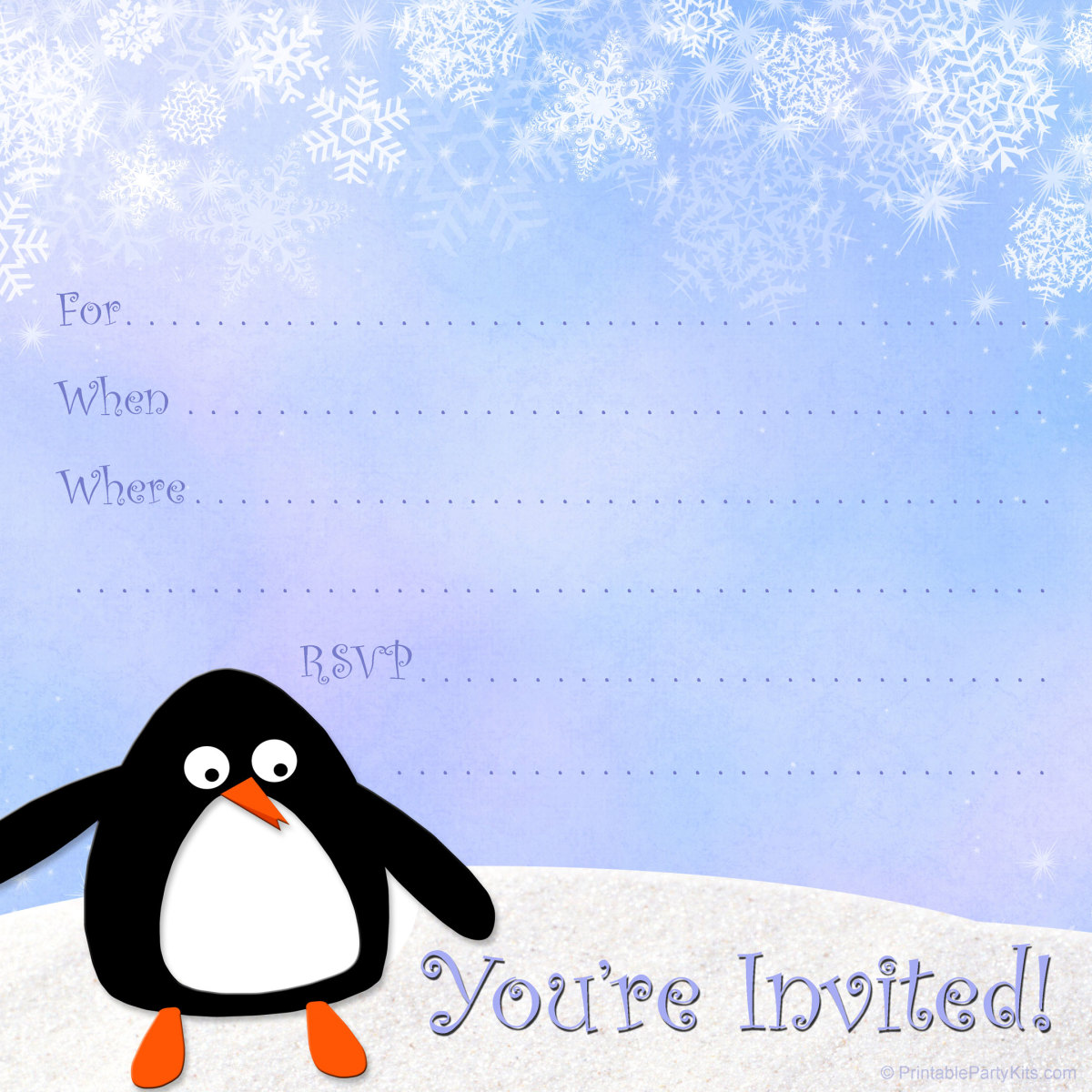 free winter invitation template: penguin and snowflakes